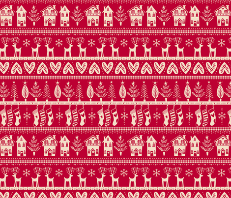 vintage nordic christmas red fabric by laura_may_designs on Spoonflower - custom fabric
