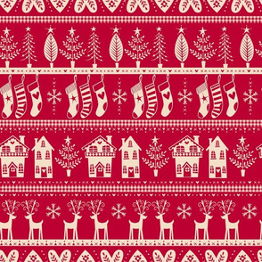 vintage nordic christmas red