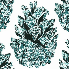 screen print pine cone teal