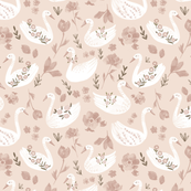 Baby pink swans/ Nuresery girls fabric/ Light pink animal swans/ flower swans fabric