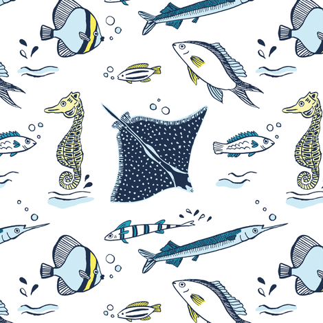 Swimming in the sea - fish and seahorse fabric by revista on Spoonflower - custom fabric