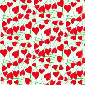 A Flutter of Heart Flowers on Green Dots