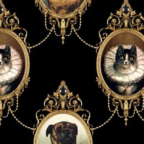 neoclassical victorian baroque rococo dogs cats mastiff bullmastiff swags medallions frames gold black collars frill filigree  shabby chic romantic festoon