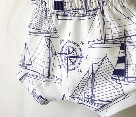 sailboats - navy on white