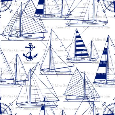 sailboats - navy on white