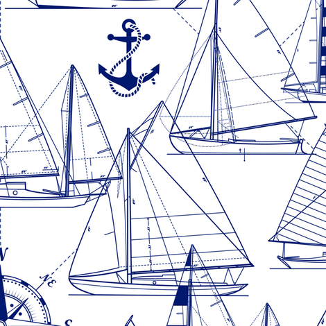 sailboats - navy on white fabric by mirabelleprint on Spoonflower - custom fabric
