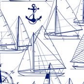 Sailboats Dark Blue White Meduim Scale