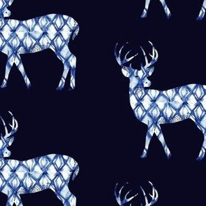 Shibori Deer in Navy