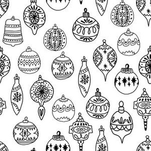 ornaments // black and white ornaments holiday christmas tree ornaments black and white hand-drawn illustration