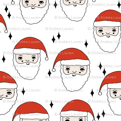 santa // father christmas papa noel pere noel santa claus kids cute illustration christmas fabric