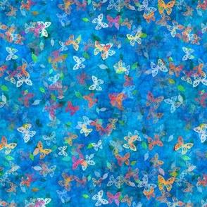 Faux Batik Butterflies Blue