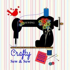 Vintage Sewing Machine Crafty Theme