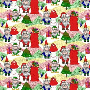 Christmas Santa, Gnome and Elf, small scale, white red green gold yellow blue