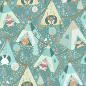 Happy Camping/ Woodland Forest Fabric/ Animals woodland camping