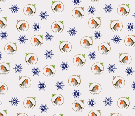 Robin and the Blue Snowflakes fabric by squeakyangel on Spoonflower - custom fabric