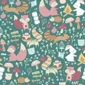 Happy Camper / Woodland campers/ Animal woodland fabric