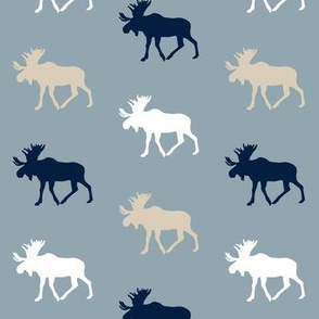 multi moose on blue (small scale) || the rustic woods colleciton