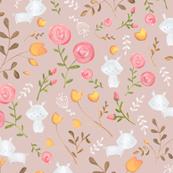 Sweet Bunnies/ Rabbit fabric/ Floral bunnies fabric/ Nursery bunnies