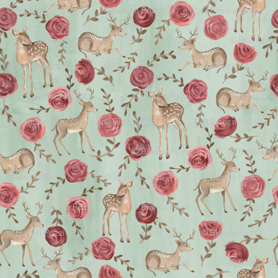 Romantic Deers/ Floral and woodland fabric/ Deer and rose mint green