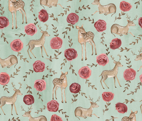 Romantic Deers/ Floral and woodland fabric/ Deer and rose mint green fabric by bianca_pozzi on Spoonflower - custom fabric