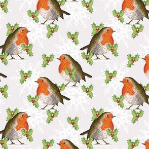 Robin, Holly & snowflakes