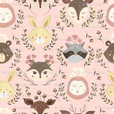 Woodland Faces/ Racoon Fox Bunny Deer/ Nursery woodland animals