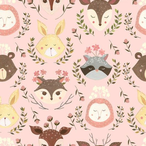 Woodland Faces/ Racoon Fox Bunny Deer/ Nursery woodland animals