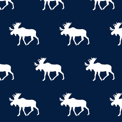 moose (small scale) || white on navy fabric by littlearrowdesign on Spoonflower - custom fabric