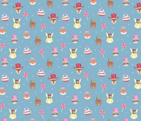 Nutcracker animals/ Woodland faces/ Bunny Bear Racoon/ Fox fabric by bianca_pozzi on Spoonflower - custom fabric