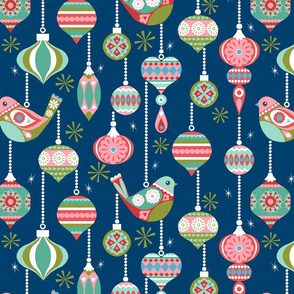 Birds and Baubles - Navy