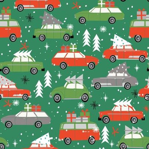 vintage christmas cars holiday xmas christmas fabric tree on car