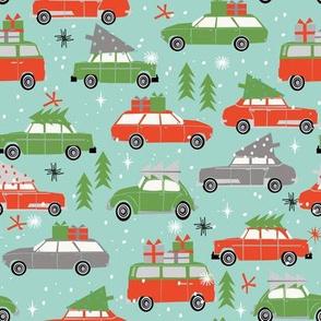 vintage christmas cars holiday xmas christmas fabric tree on car