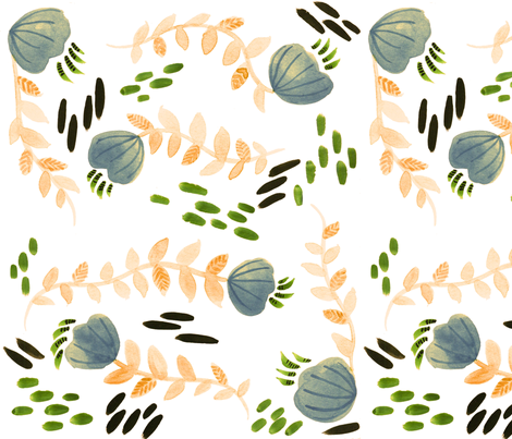 Sweet Flowers and Vines - Larger Version fabric by taraput on Spoonflower - custom fabric
