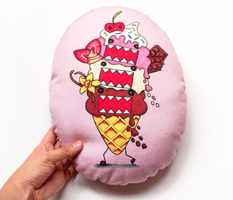Domo Neapolitan Ice Cream Pillow – Egg Shape