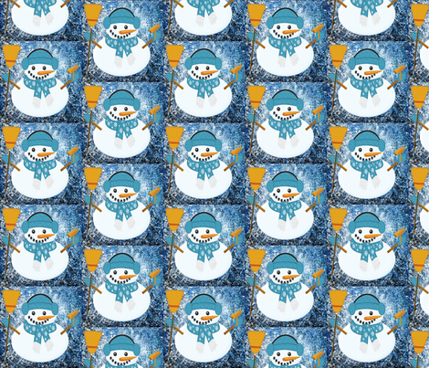 snowman_blue_Nicholas fabric by gigglepoo on Spoonflower - custom fabric