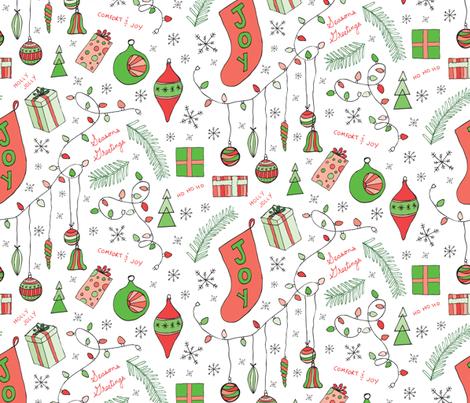 Hand drawn Christmas fabric by lprspr on Spoonflower - custom fabric