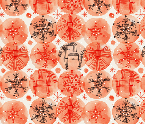 Straw Christmas fabric by mariaspeyer on Spoonflower - custom fabric