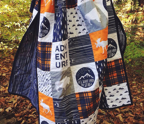 the great outdoors (buffalo) wholecloth || camping quilt top