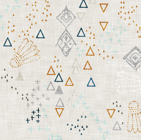 Markings (raw linen) fabric by nouveau_bohemian on Spoonflower - custom fabric