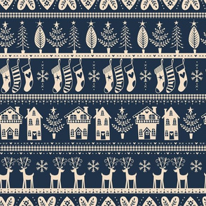 vintage nordic christmas navy