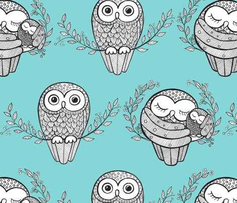Turqoise Owls fabric by annukkapalmen on Spoonflower - custom fabric