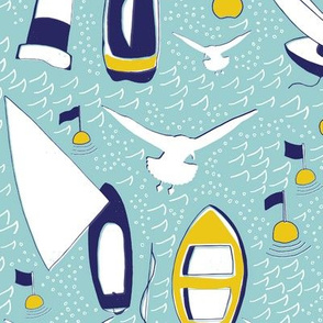 Sailboats screenprint