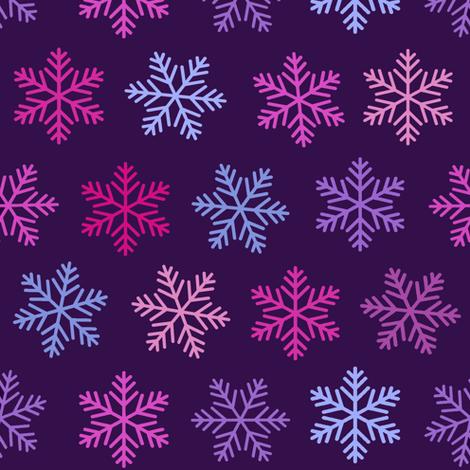 purple snowflake winter , ultraviolet, lilac,  fabric by magentarosedesigns on Spoonflower - custom fabric