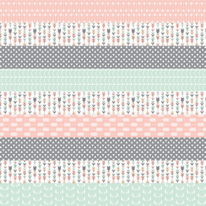 Pink/Grey/Mint Wholecloth Quilt top