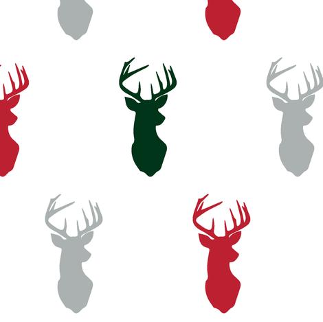 "multi buck head 3"" scale || holiday fabric by littlearrowdesign on Spoonflower - custom fabric"