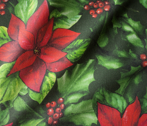 Vintage Christmas Flowers and Holly Berries