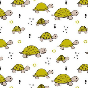 Cute baby turtle pura vida animals collection turtles  tortoise  illustration for kids ochre