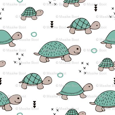 Cute baby turtle pura vida animals collection turtles  tortoise  illustration for kids blue white