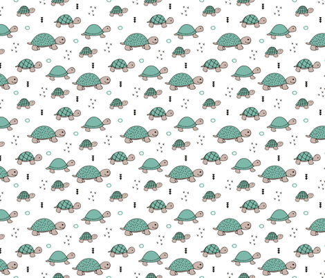 Cute baby turtle pura vida animals collection turtles  tortoise  illustration for kids blue white fabric by littlesmilemakers on Spoonflower - custom fabric