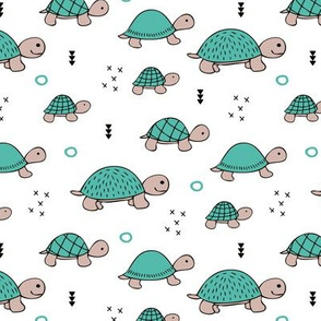 Cute baby turtle pura vida animals collection turtles tortoise illustration for kids blue white
